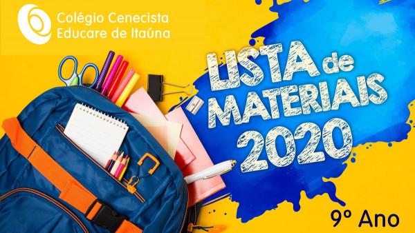 Listagem de Material - 9º Ano